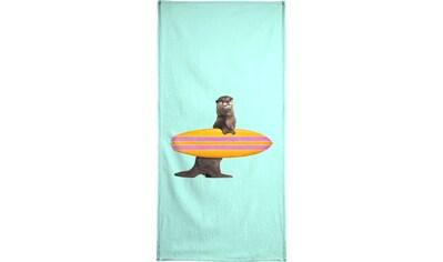 Juniqe Handtuch »Surfing Otter«, (1 St.), Weiche Frottee-Veloursqualität kaufen