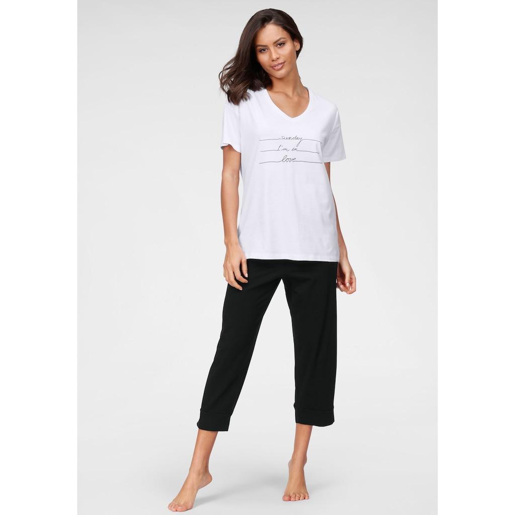 Schiesser Capri-Pyjama, mit Frontdruck