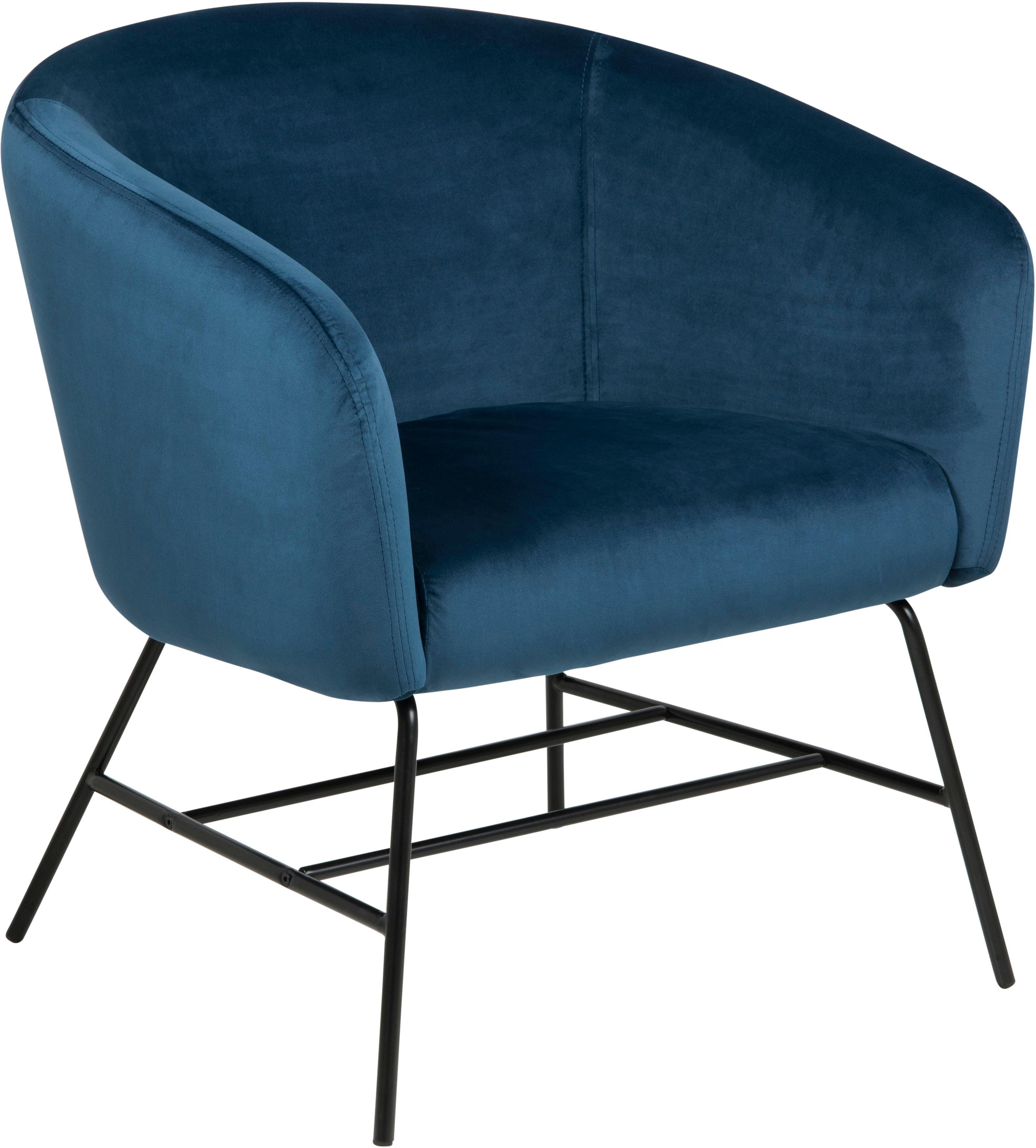 andas Loungestuhl Roger mit schönem schwarzem Metallgestell und weichem blauem Velvetbezug