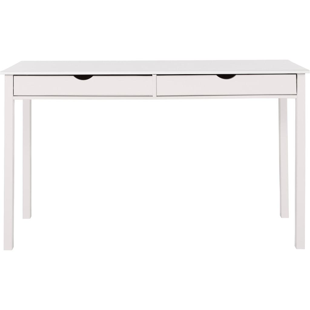 my home Schreibtisch »Gava«, aus massiven Kiefernholz, mit praktischen Griffmulden, in unterschiedlichen Farbvarianten, Breite 140 cm