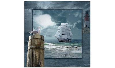 Artland Glasbild »Maritime Collage mit Segelschiff«, Boote & Schiffe, (1 St.) kaufen