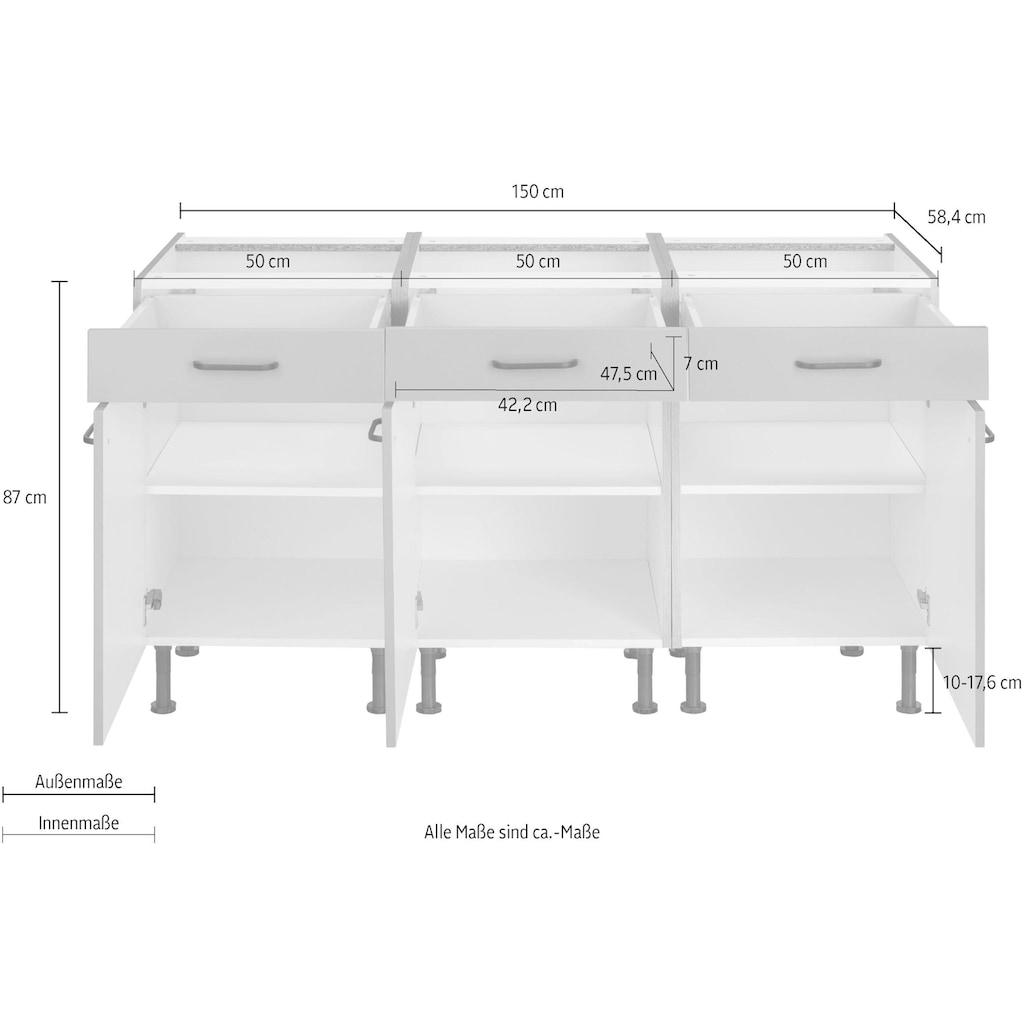 OPTIFIT Unterschrank »Elga«, mit Soft-Close-Funktion, Vollauszügen, höhenverstellbaren Füßen und Metallgriffen, Breite 150 cm