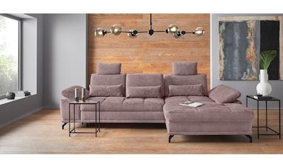 Places of Style Ecksofa »Costello«, incl. Sitztiefenverstellung und Armlehnfunktion, Federkern, wahlweise mit Bettfunktion und Bettkasten, incl. 3 Nierenkissen kaufen