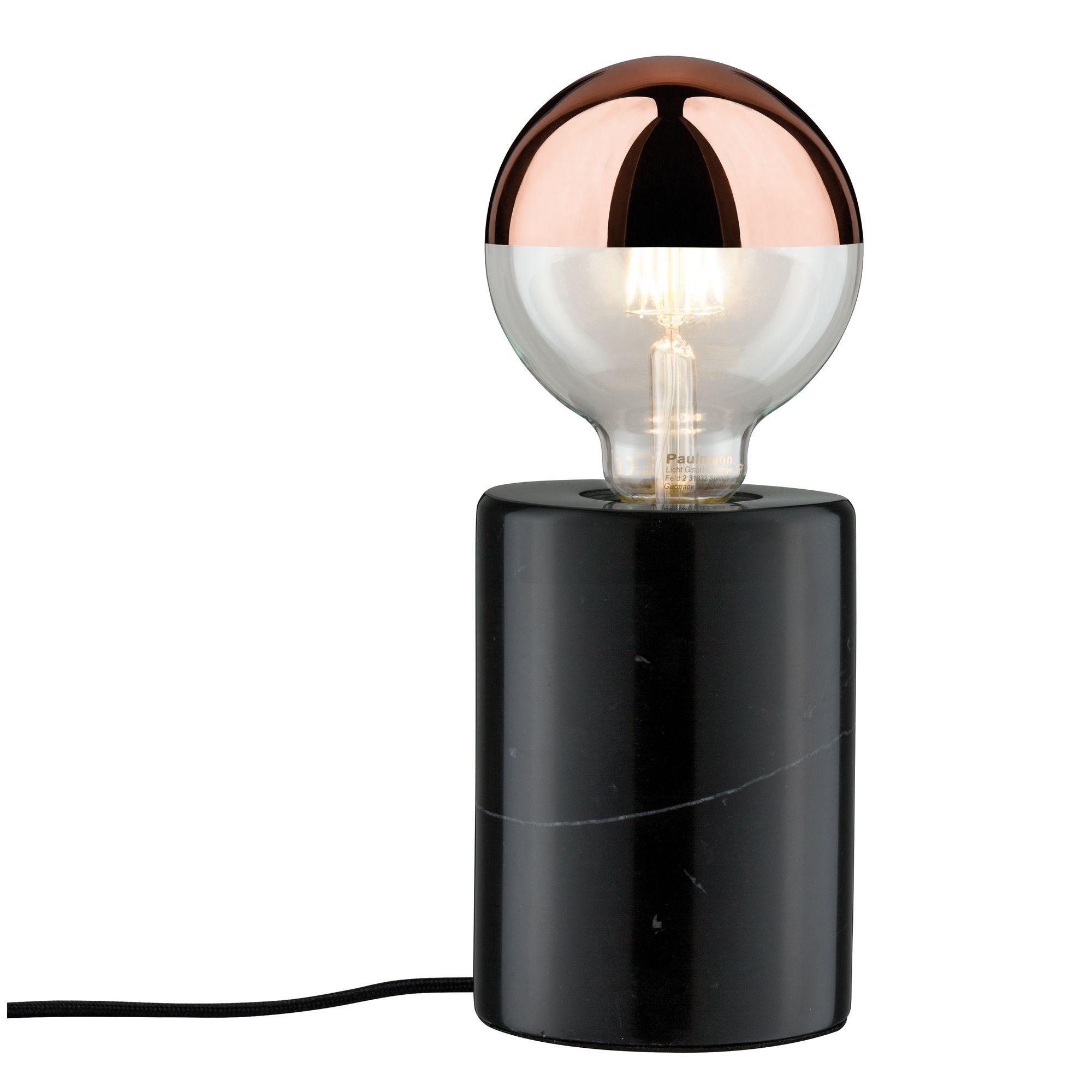 Paulmann LED Tischleuchte Neordic Nordin Schwarz/Marmor, E27, 1 St.