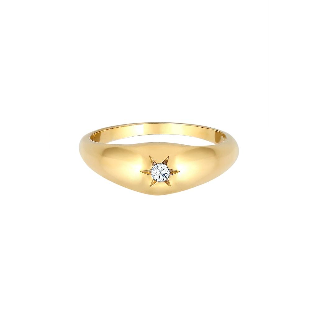 Elli Siegelring »Stern Siegelring Kristalle 925 Silber«