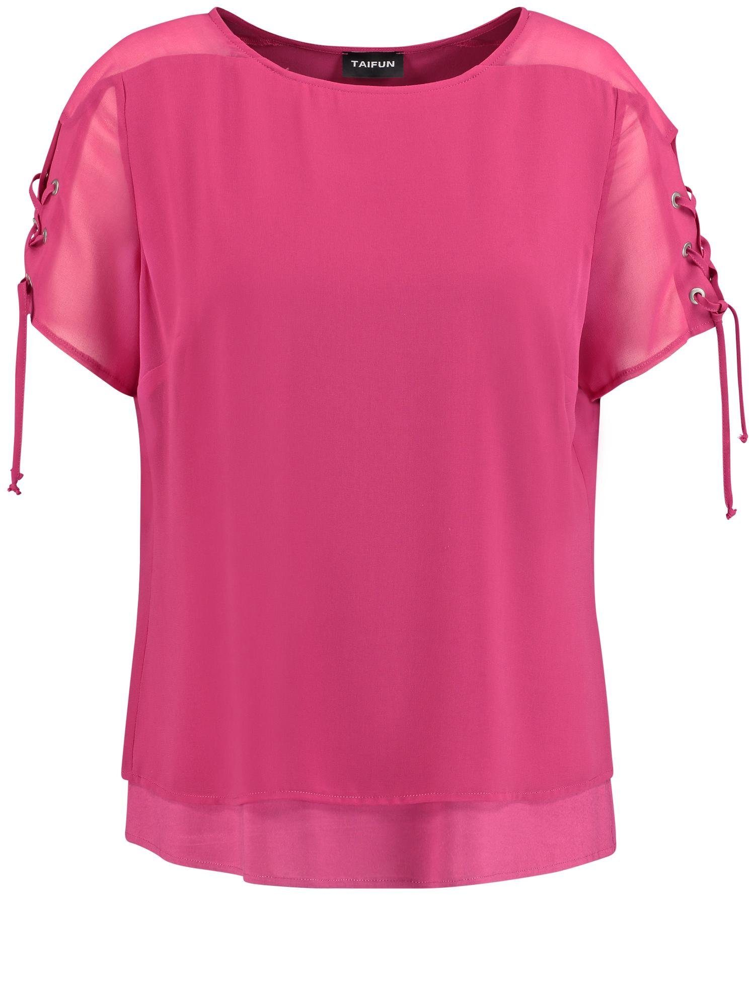 TAIFUN Bluse Kurzarm Layer-Bluse mit Schnürung am Arm