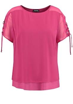 c3d62dc3115d73 TAIFUN Bluse Kurzarm »Layer - Bluse mit Schnürung am Arm« kaufen