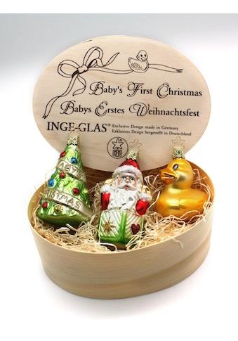 """INGE - GLAS® Christbaumschmuck """"Baby's Erstes Weihnachten"""" (3 - teilig) kaufen"""
