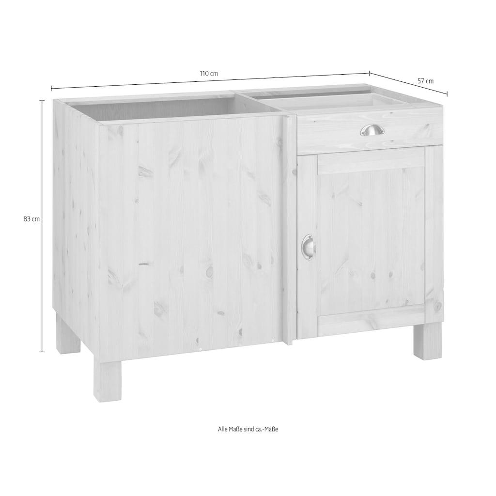 Home affaire Eckunterschrank »Oslo«, 110 cm breit, aus massiver Kiefer, Metallgriffe, Landhaus-Optik