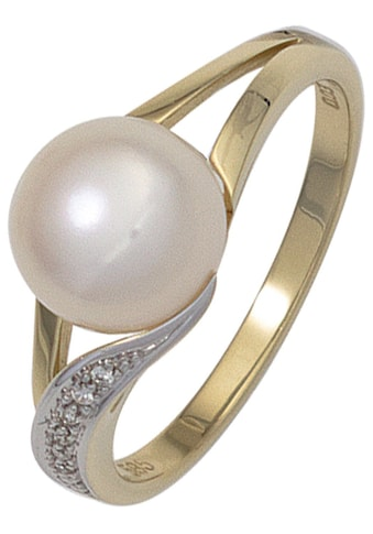 JOBO Perlenring, 585 Gold mit Süßwasser-Zuchtperle und 6 Diamanten kaufen