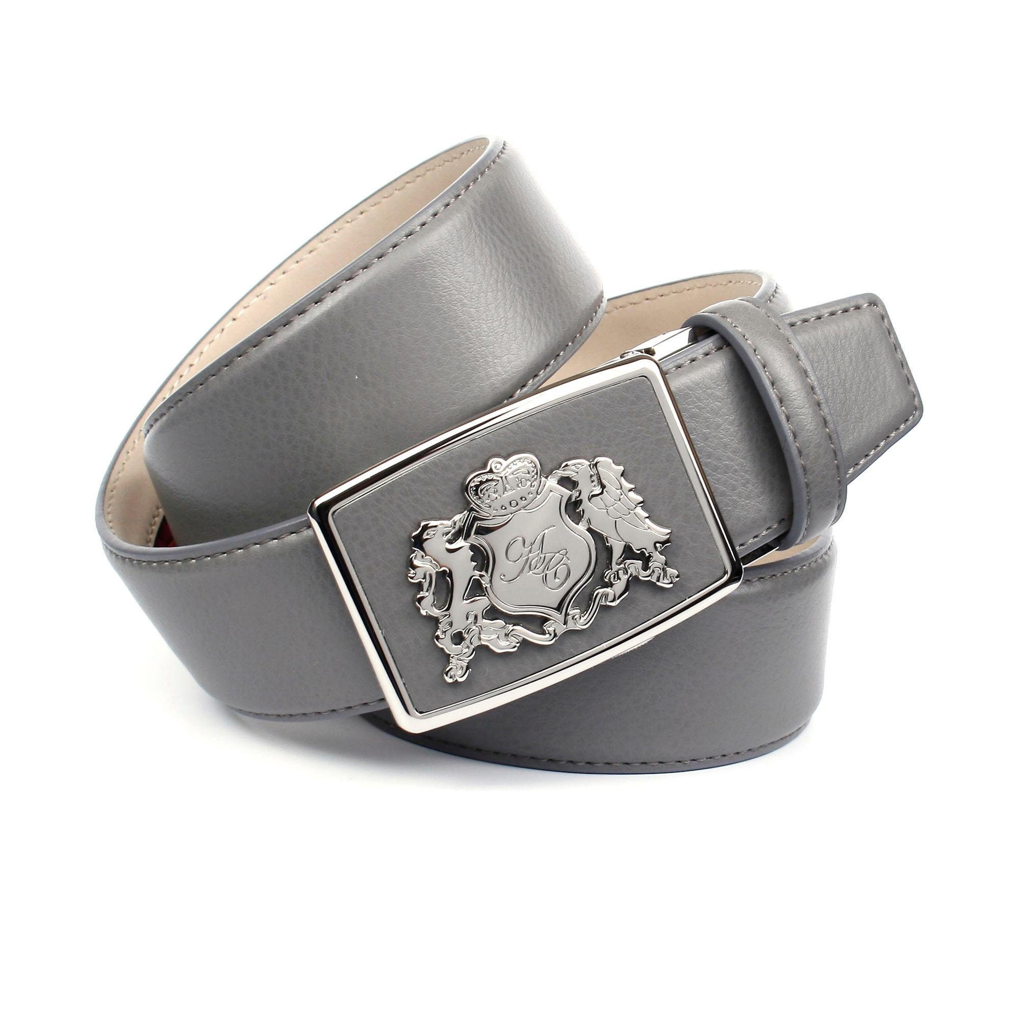 Anthoni Crown Ledergürtel, mit Wappen, bombiert grau Damen Ledergürtel Gürtel Accessoires