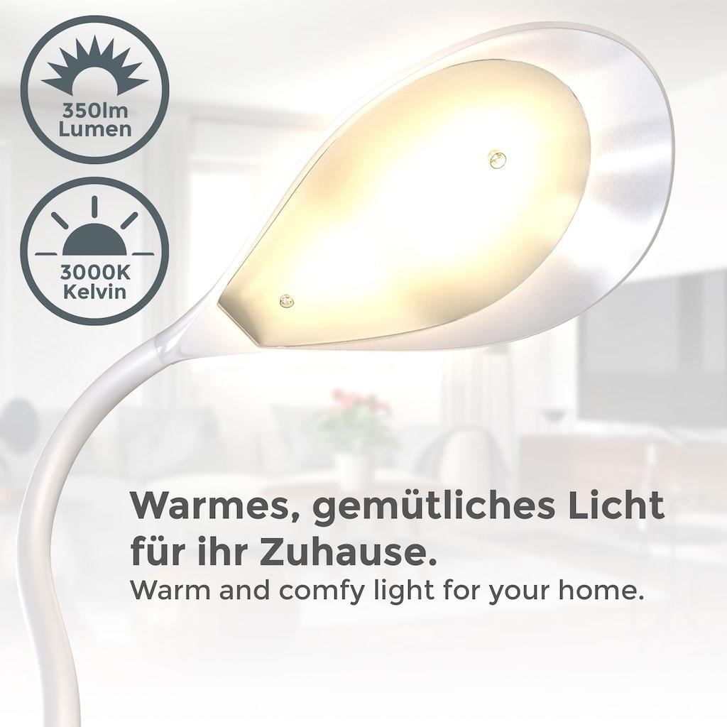 B.K.Licht Klemmleuchte, LED-Modul, 1 St., Warmweiß, LED Schreibtischleuchte flexibel schwenkbar warmweiße Lichtfarbe Leselampe 1,8m Kabelschalter Klemmbreite bis 30mm Höhe 40cm Weiß