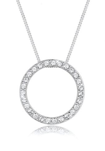Elli Collierkettchen »Anhänger Rund mit Swarovski® Kristalle 925 Silber« kaufen
