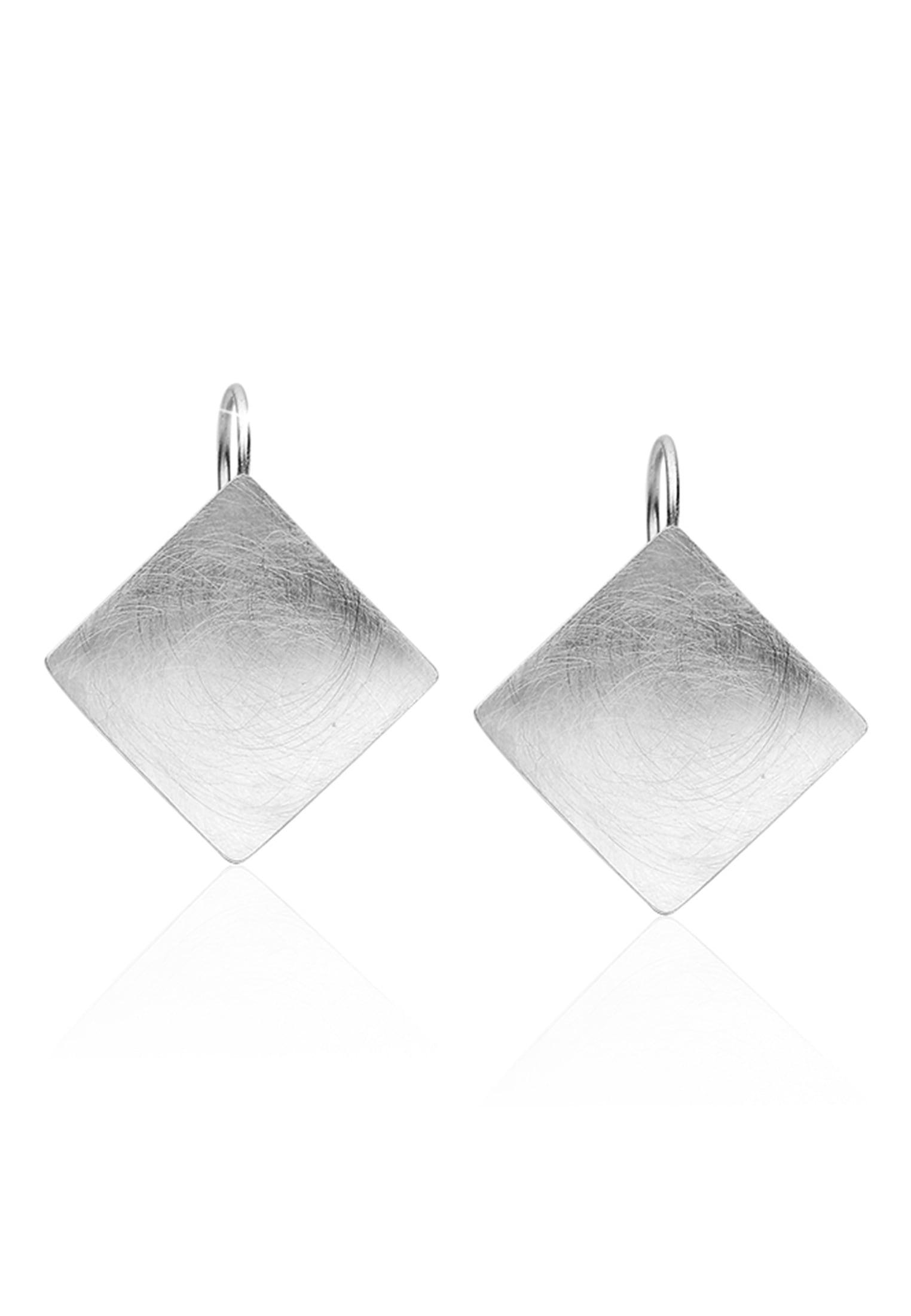 Nenalina Paar Ohrhänger Basic Geo Viereck Brushed Trend 925 Silber