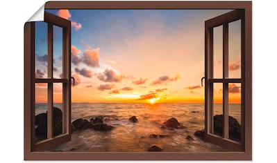 Artland Wandbild »Fensterblick Sonnenuntergang am Meer«, Fensterblick, (1 St.), in... kaufen