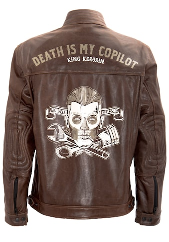 KingKerosin Lederjacke »Death is my Copilot«, mit Vintage Print kaufen
