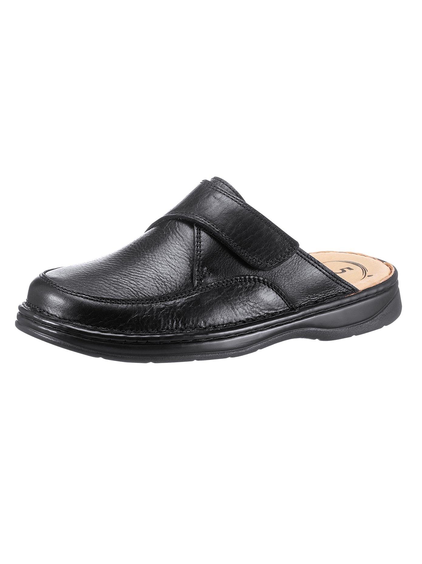 Pantoffel mit 5-Zonen-Fußbett   Schuhe > Hausschuhe > Pantoffeln   Schwarz   Leder - Pu