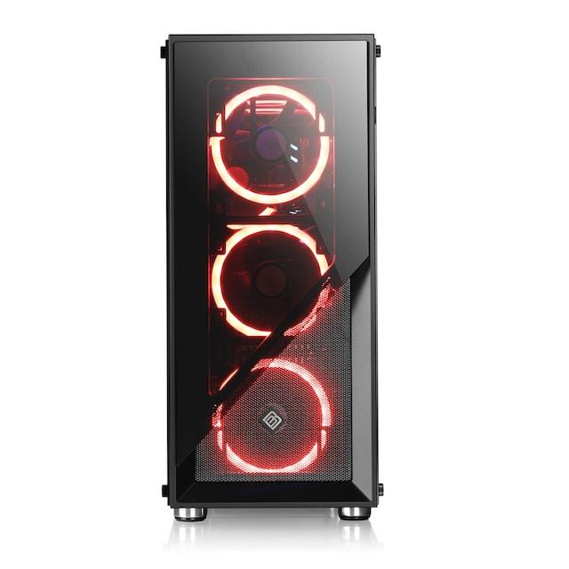 BoostBoxx Gehäuse Sichtfenster, schwarz, RGB Beleuchtung mit 4 RGB Lüftern »BoostBoxx Argo«