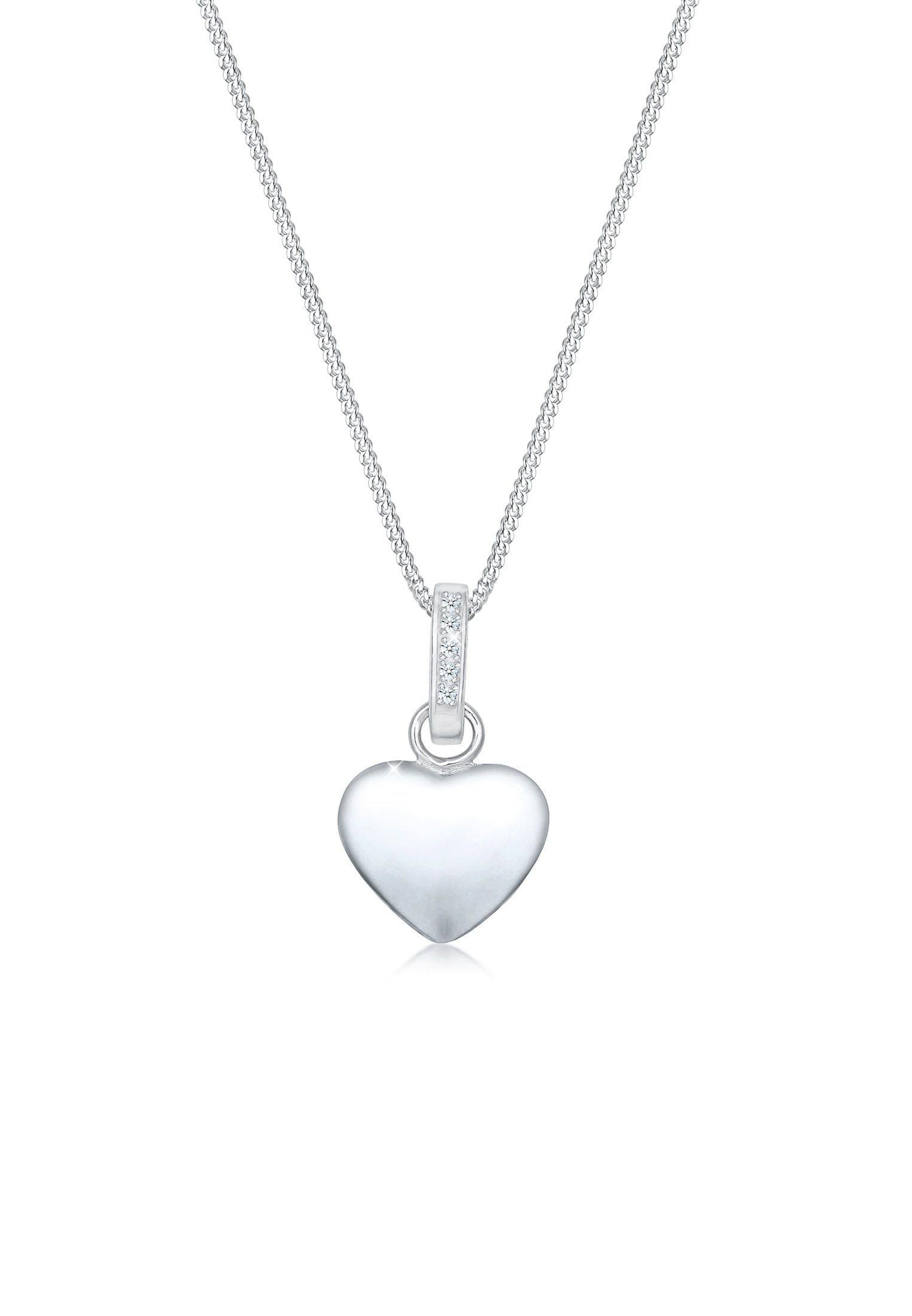 Diamore Collierkettchen Panzerkette Herz Diamant (005 ct) 925er Silber | Schmuck > Halsketten > Panzerketten | Diamore