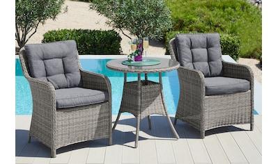 KONIFERA Gartenmöbelset »Menorca«, 7 - tlg., 2 Sessel, Tisch Ø 70 cm, Polyrattan kaufen