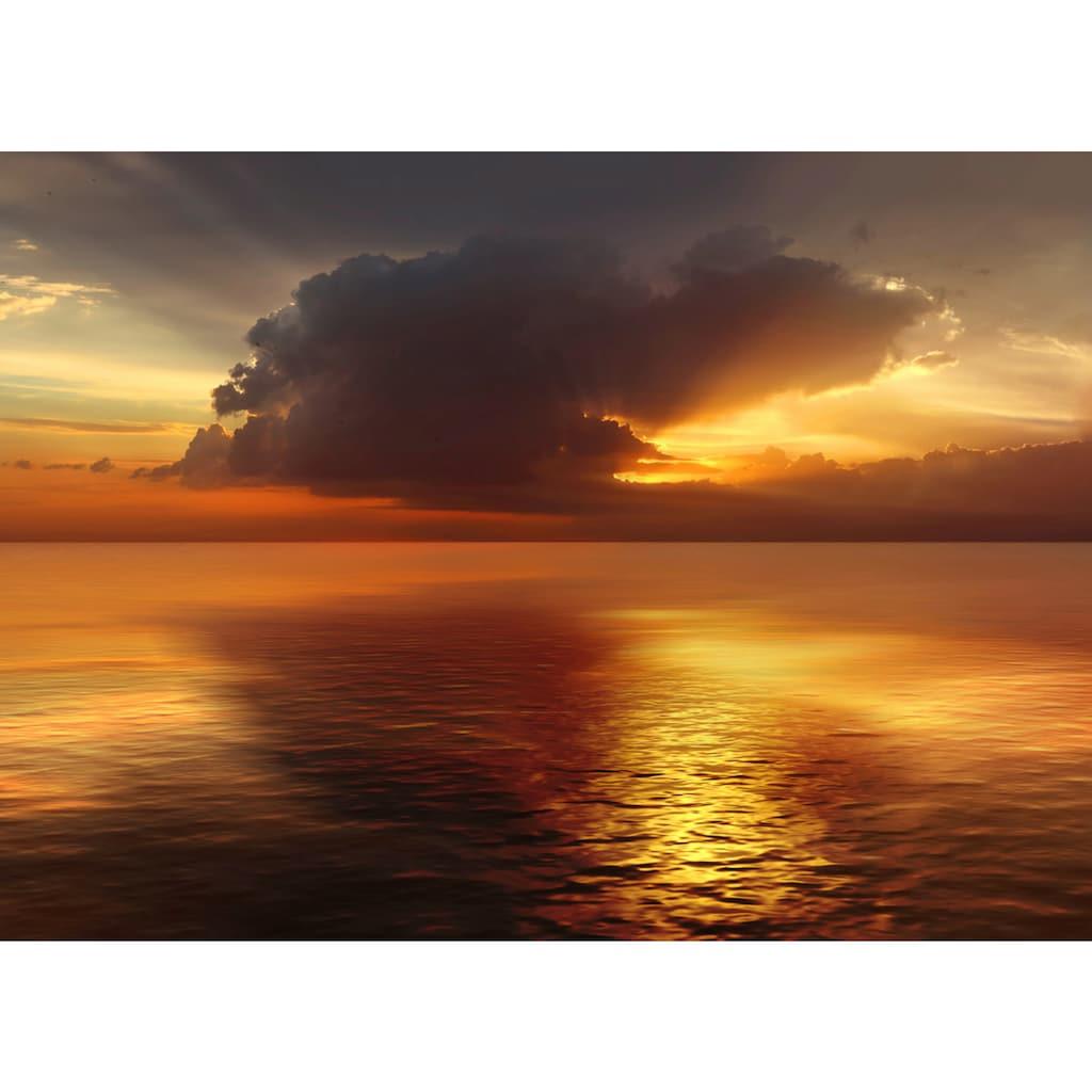 Papermoon Fototapete »Sonnenuntergang im Ozean«, Vliestapete, hochwertiger Digitaldruck