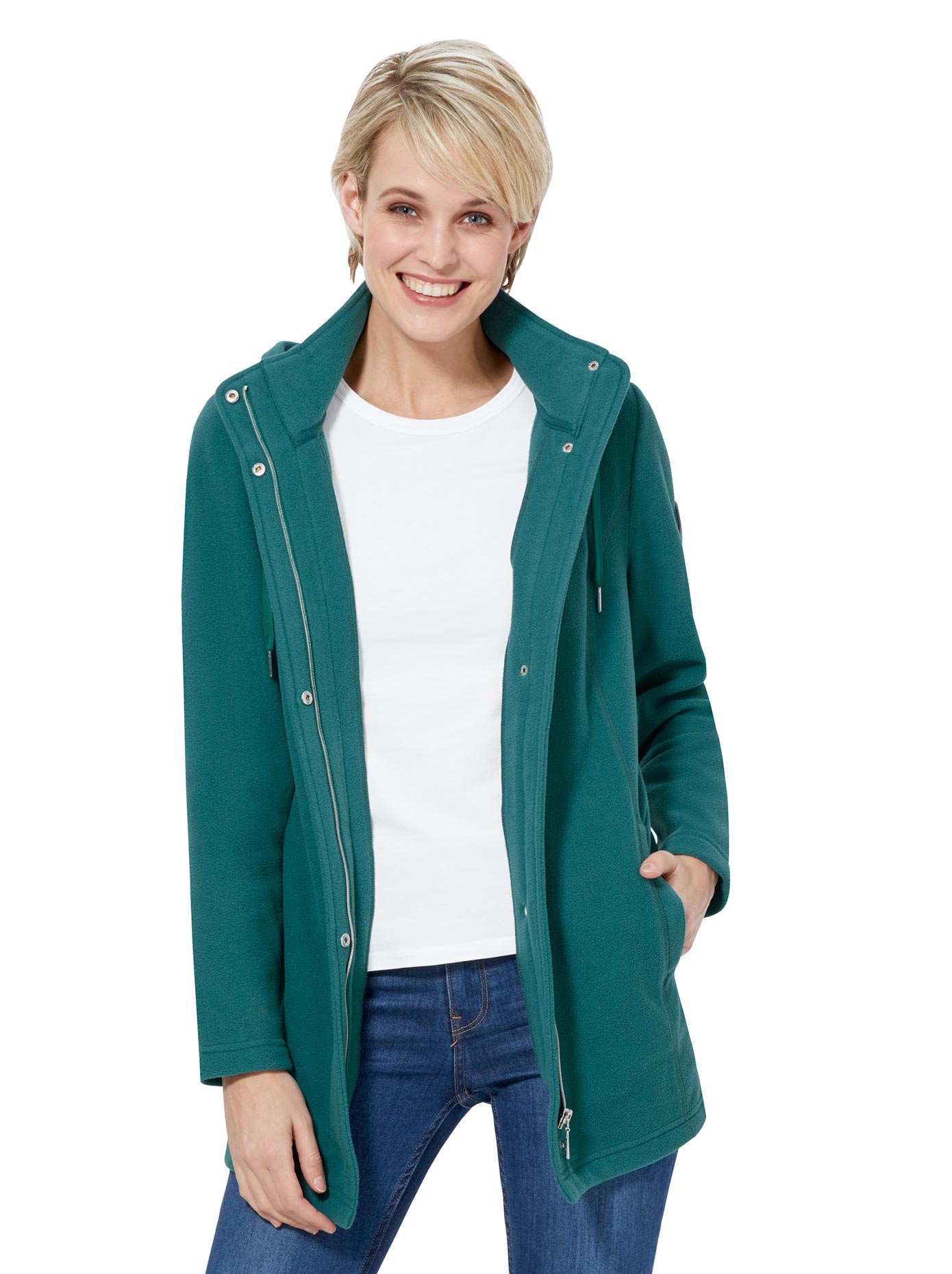 Casual Looks Fleece-Jacke in wärmender Qualität blau Damen Fleecejacken Jacken Mäntel Jacken, lang