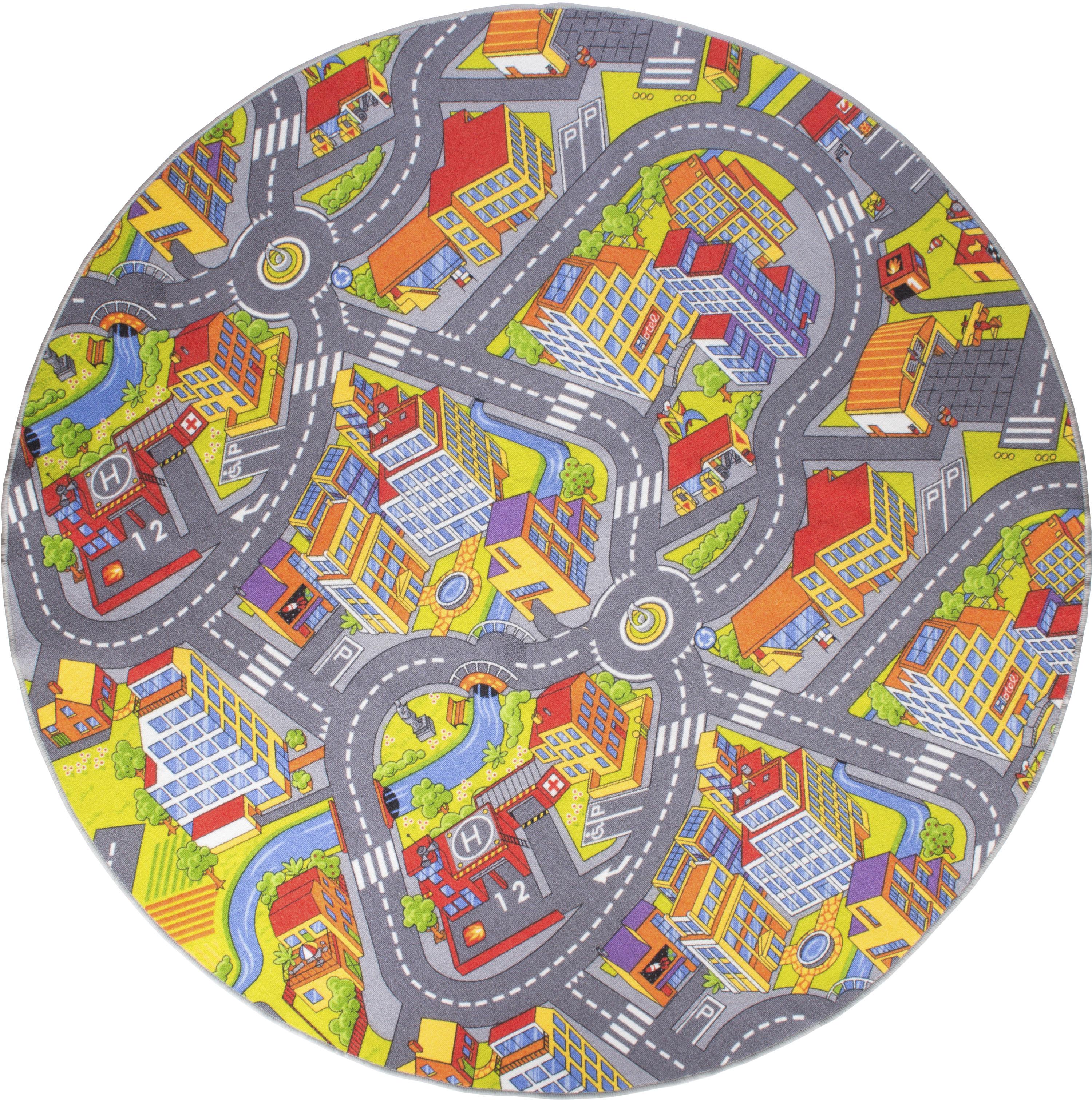 Kinderteppich, Straße, Andiamo, rund, Höhe 5 mm, maschinell getuftet bunt Kinder Bunte Kinderteppiche Teppiche