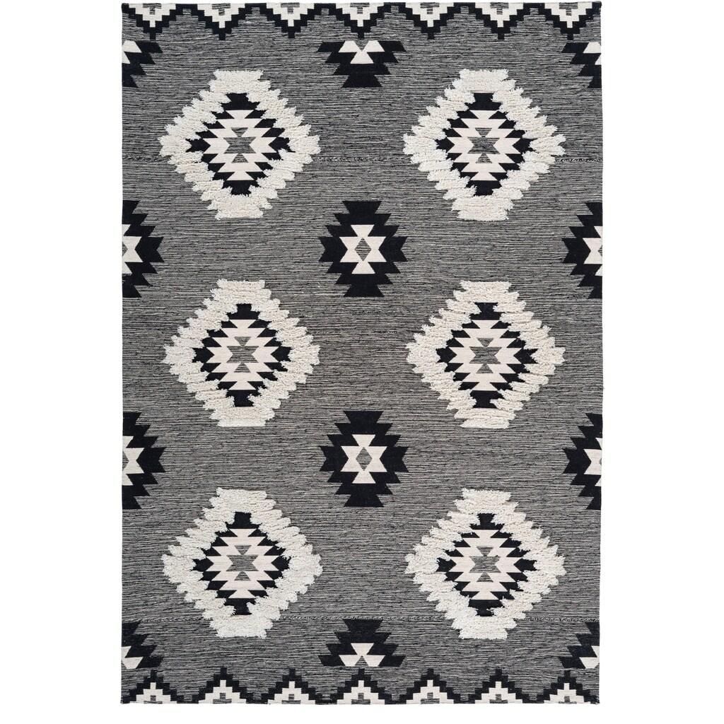calo-deluxe Teppich »Kibo 1005«, rechteckig, 10 mm Höhe, Flachgewebe mit Struktur, Wohnzimmer