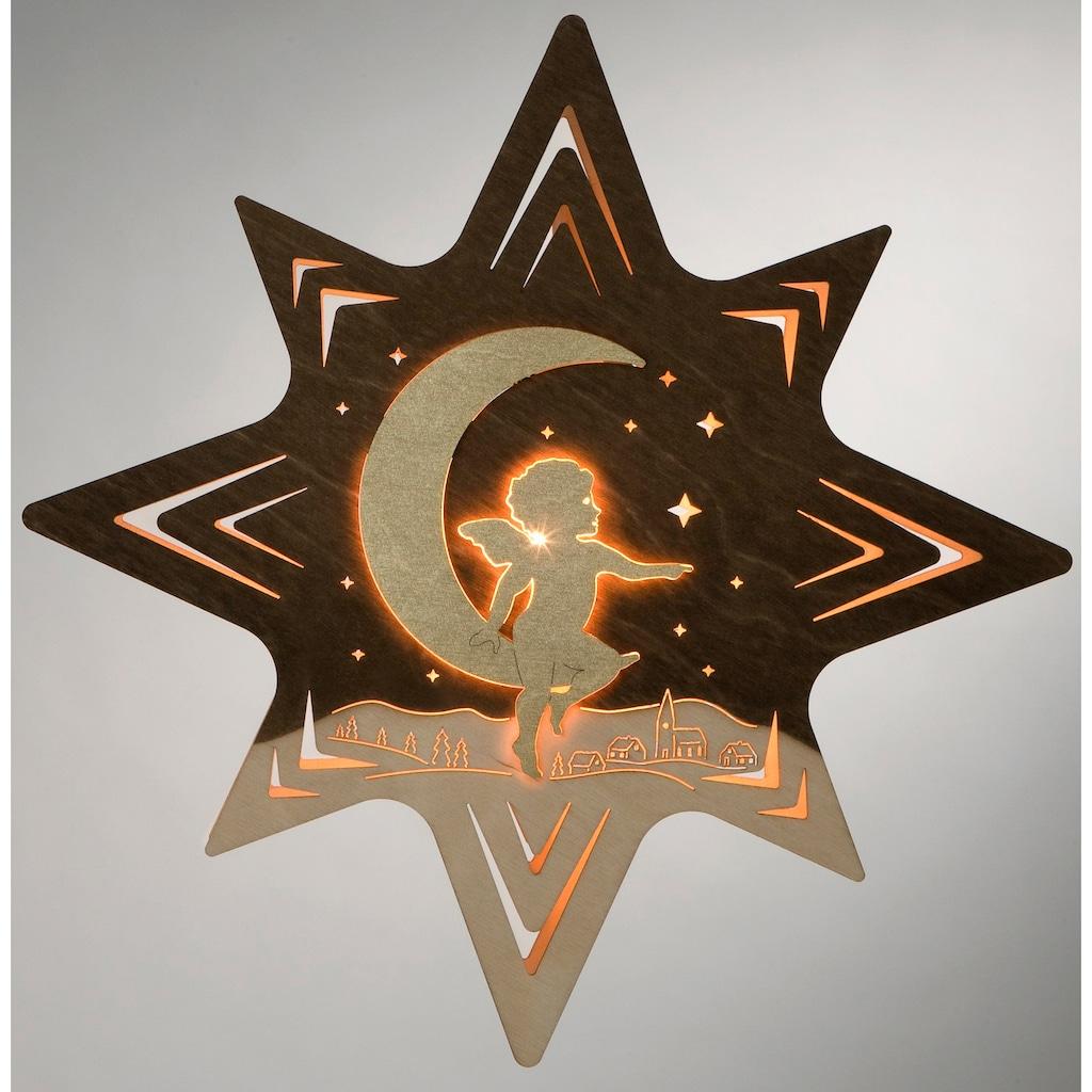 Weigla Beleuchtetes Fensterbild »Engel auf Mond«