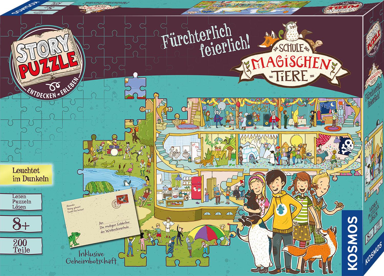 Kosmos Puzzle Story Puzzle: Die Schule der magischen Tiere, Fürchterlich Feierlich, mit Leuchteffekt; Made in Germany bunt Kinder Ab 6-8 Jahren Altersempfehlung Puzzles