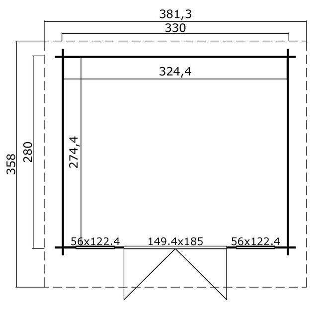 OUTDOOR LIFE PRODUCTS Gartenhaus »Kalmar 280«, BxT: 381x358 cm, inkl. Fußboden