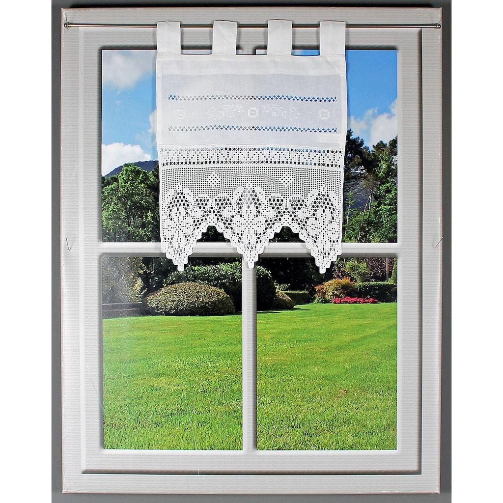 HOSSNER - ART OF HOME DECO Scheibengardine »Traunsee«, m. Stickerei, Hohlsaum u. Häkelspitze