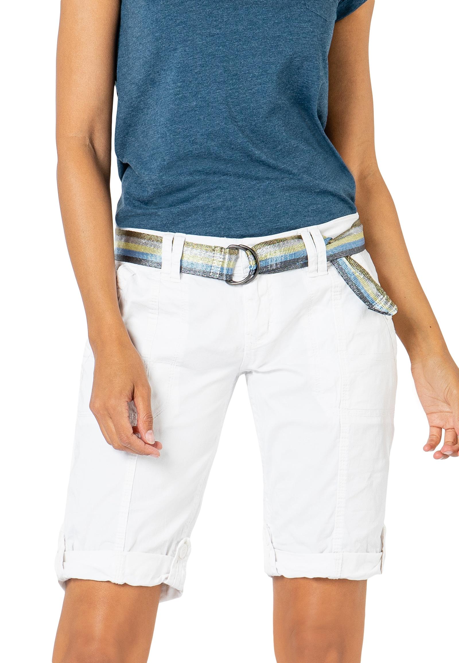 Fresh Made Bermudas, mit Gürtel weiß Damen Kurze Hosen Bermudas