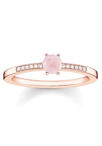 THOMAS SABO Fingerring »D_TR0010-925-9-50, 52, 54, 56, 58, 60, Rosa Stein«, mit Diamanten und Rosenquarz kaufen