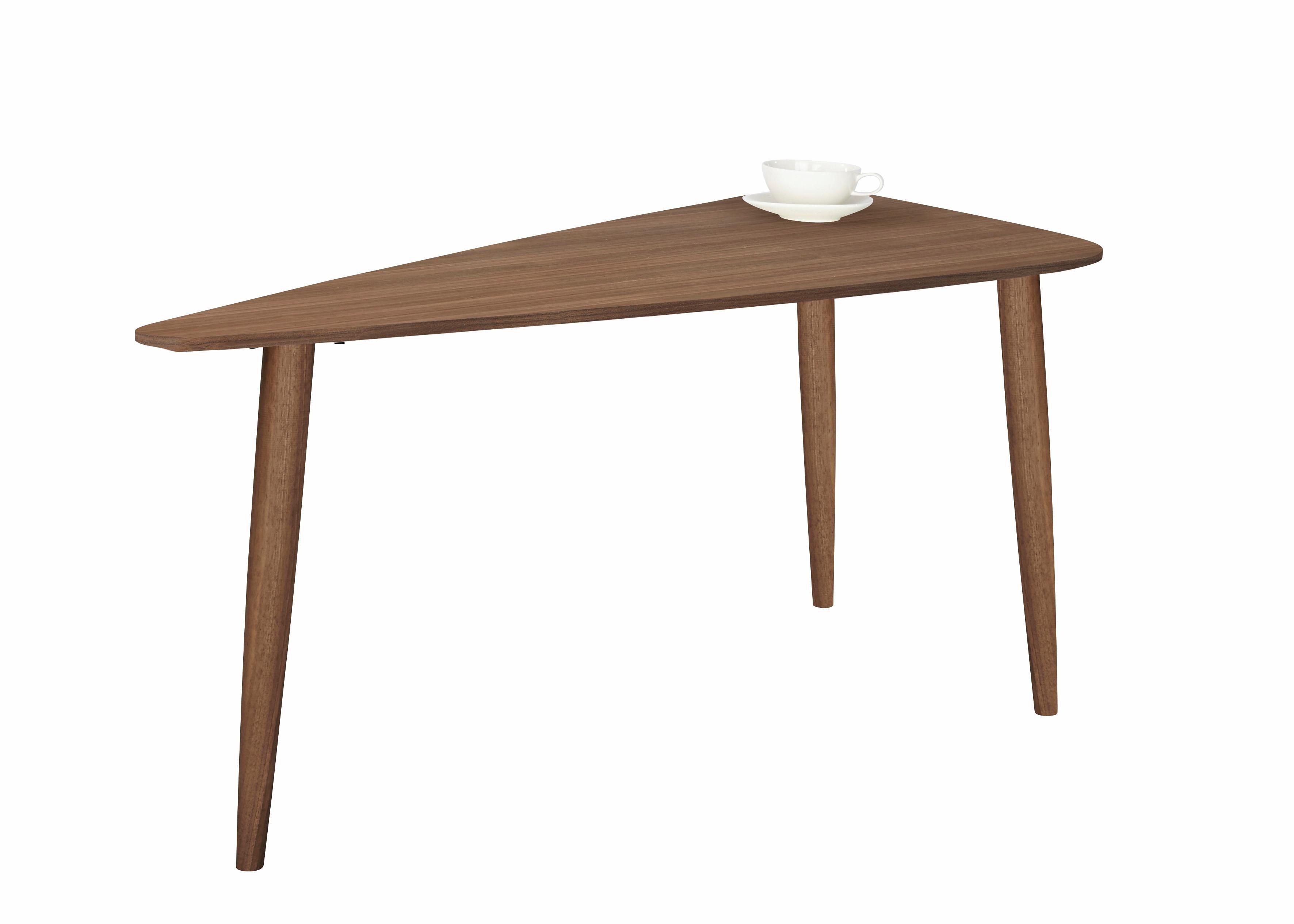PBJ Designhouse Couchtisch Jib walnut massiv mit segelförmiger Tischplatte in zwei Höhen