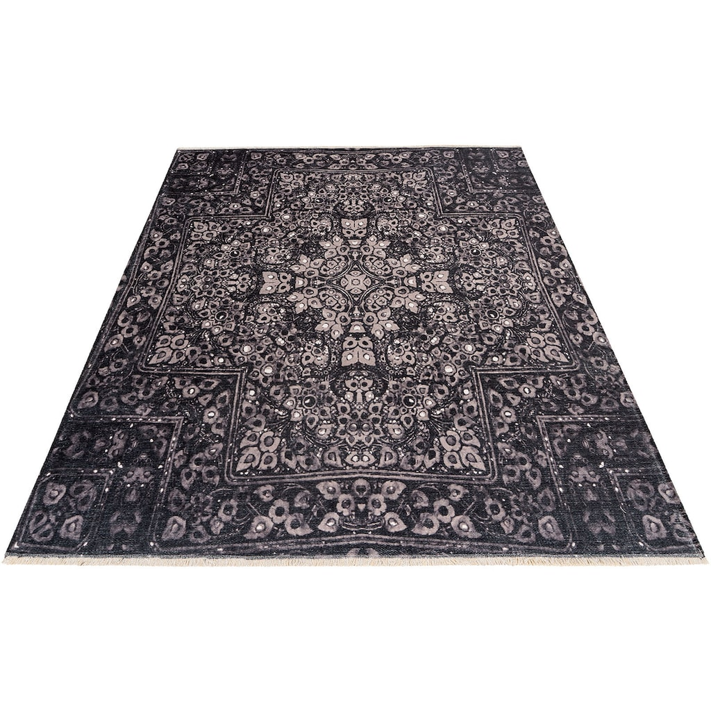 Obsession Teppich »My Azteca 550«, rechteckig, 6 mm Höhe, recycelte Materialien, mit Fransen, waschbar, In- und Outdoor geeignet, Wohnzimmer