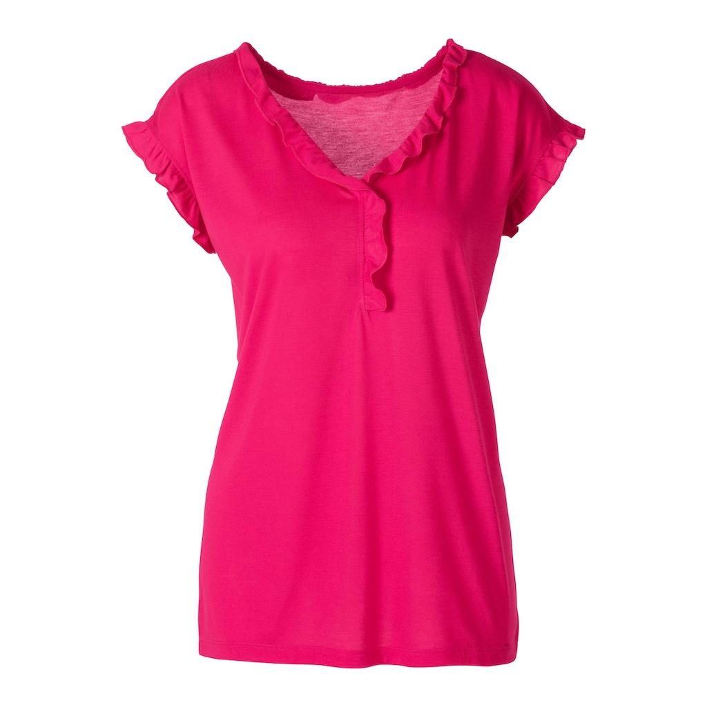 Beachtime T-Shirt, mit femininer Rüschenkante