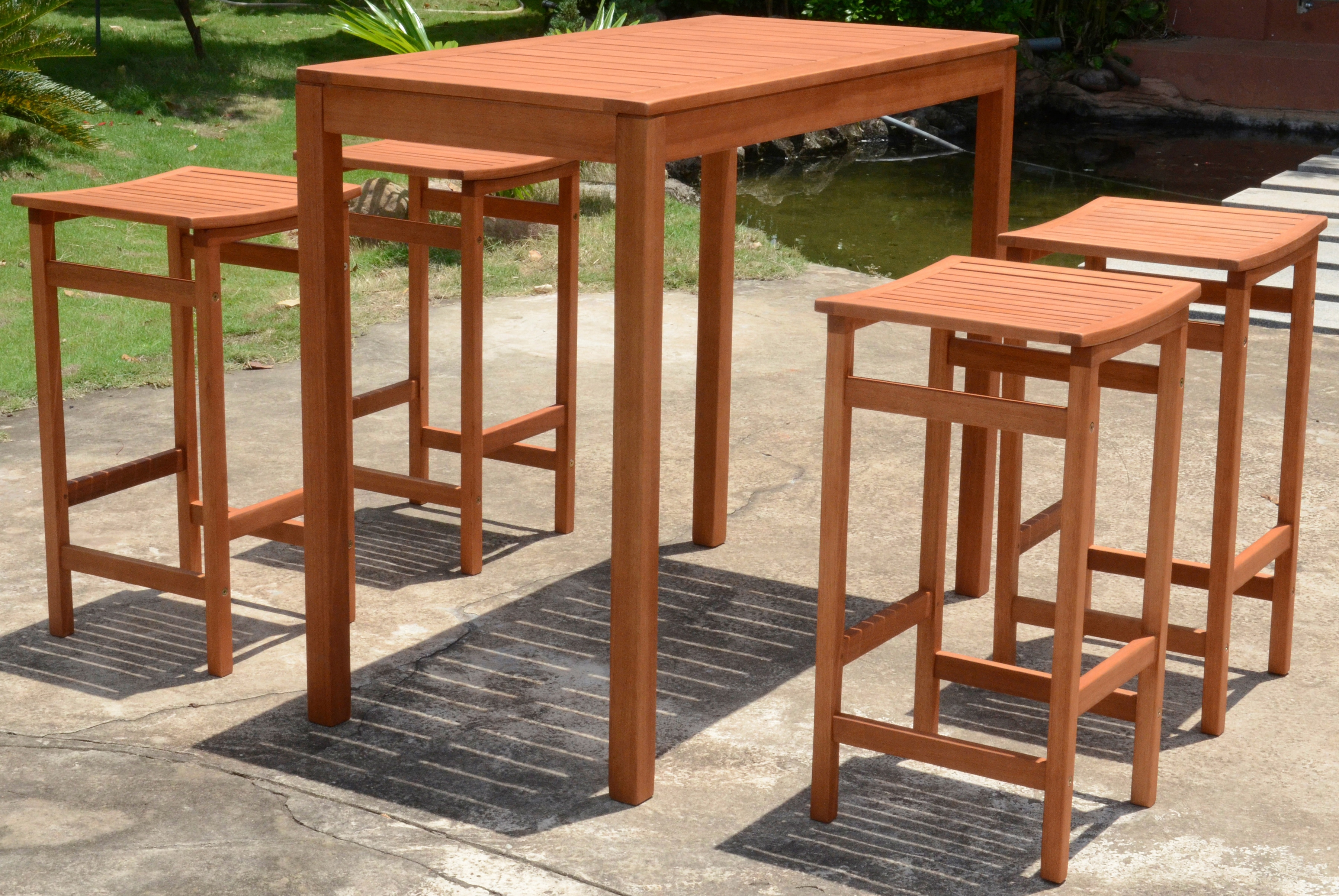 Garden Pleasure Bar Set Palmdale 5 Tlg 4 Barhocker Tisch