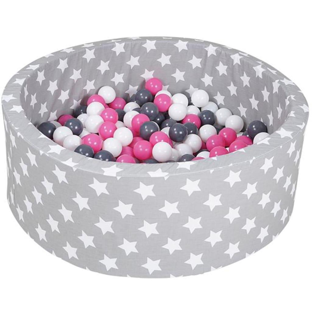 Knorrtoys® Bällebad »Soft, Grey white stars«, mit 300 Bällen creme/grey/rose; Made in Europe