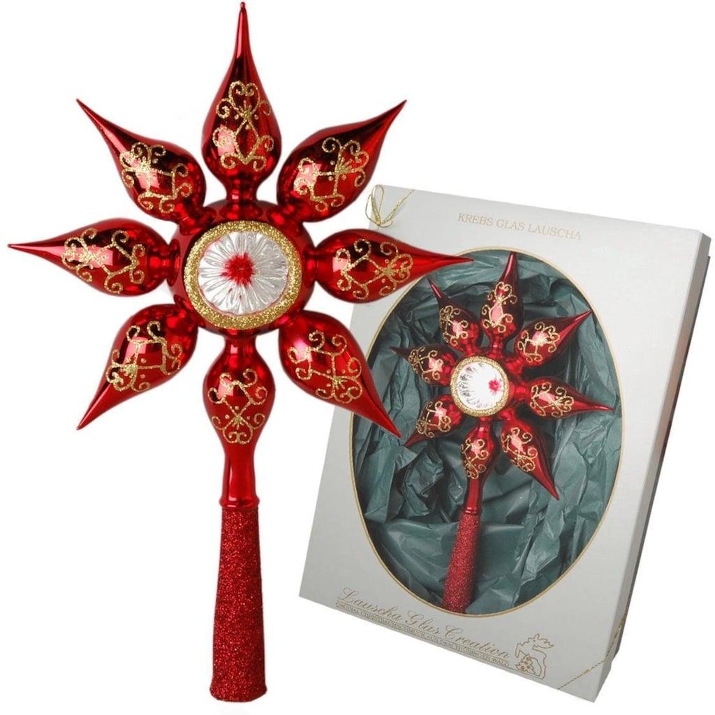 Krebs Glas Lauscha Christbaumspitze »Stern mit Reflex«, mundgeblasen, rot
