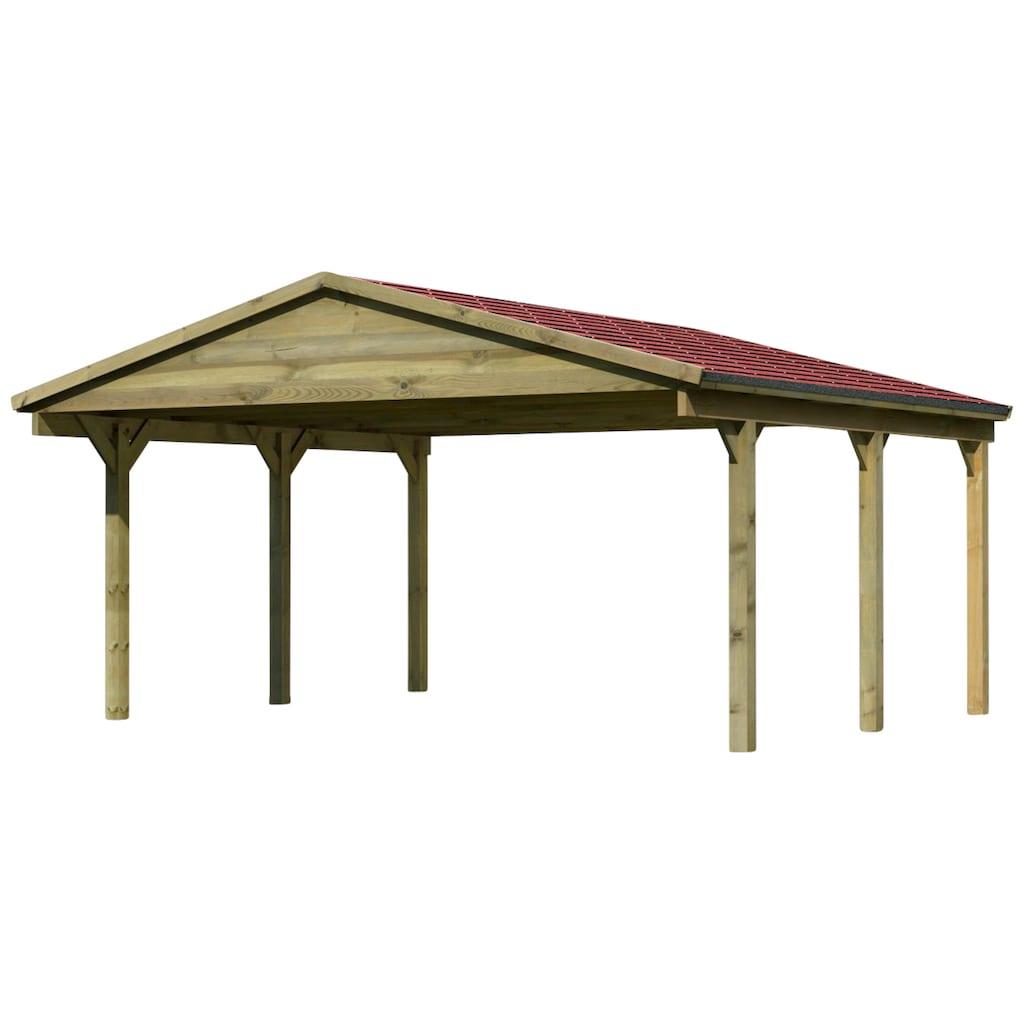 Karibu Doppelcarport »Classic«, Holz, 480 cm, braun