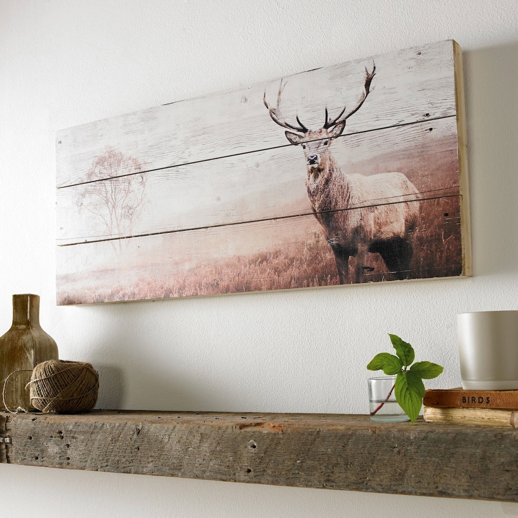 Art for the home Holzbild »Stag«, Hirsche