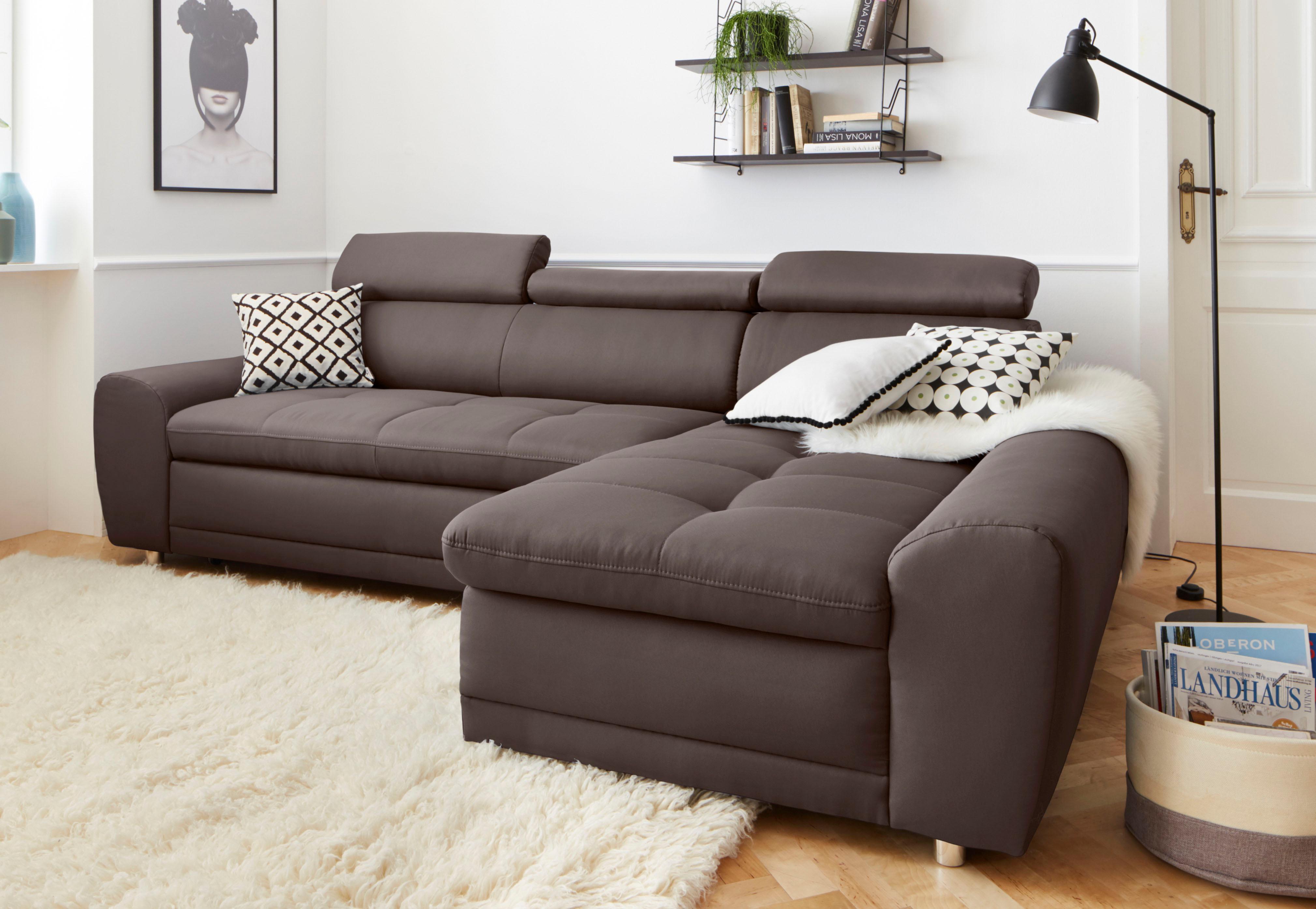 Sit&More Polsterecke inklusive Kopteilverstellung, wahlweise mit Bettfunktion | Wohnzimmer > Sofas & Couches > Ecksofas & Eckcouches | Microfaser - Flachgewebe | SIT&MORE