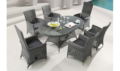 DESTINY Essgruppe »Santos«, 7 - tlg., 6 Stühle, Tisch 180x100 cm, Alu/Polyrattan kaufen