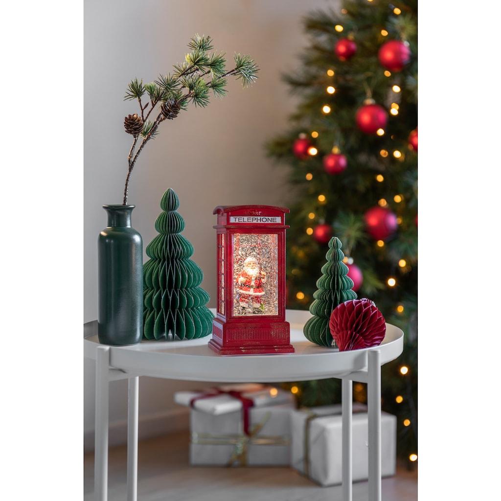 KONSTSMIDE Wasserlaterne klein, Telefonzelle mit sprechendem Weihnachtsmann