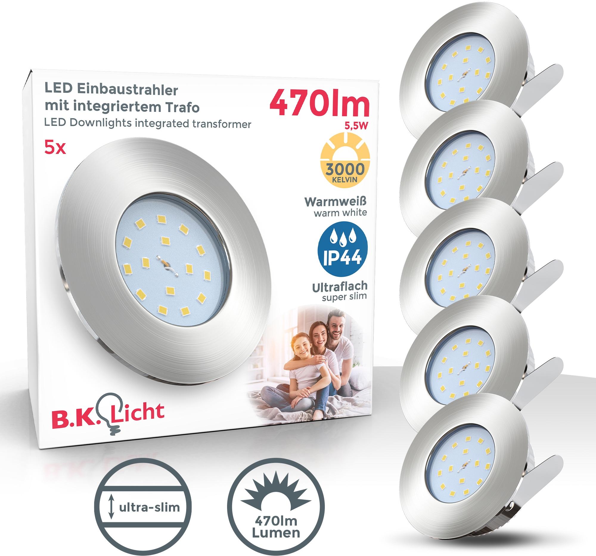B.K.Licht LED Einbauleuchte Iris V, LED-Board, 5 St., Warmweiß, LED Einbaustrahler dimmbar ultra flach (30mm) inkl. 5W 470 Lumen LED-Modul Badspot
