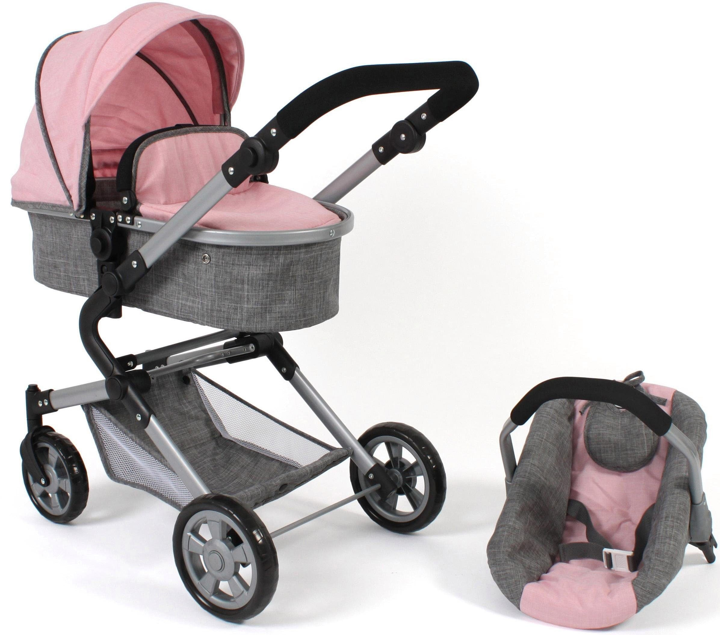 CHIC2000 Kombi-Puppenwagen Lia, grau-rosa, mit Puppen-Autositz rosa Kinder Puppenzubehör Puppen