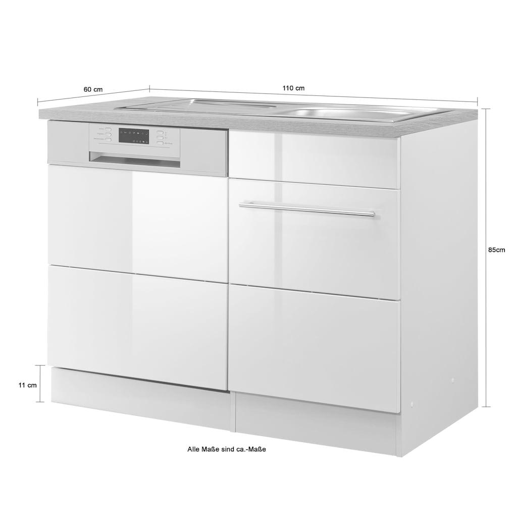 HELD MÖBEL Spülenschrank »Wien«, Breite 110 cm, inkl. Möbelfront für teilintegrierbaren Geschirrspüler