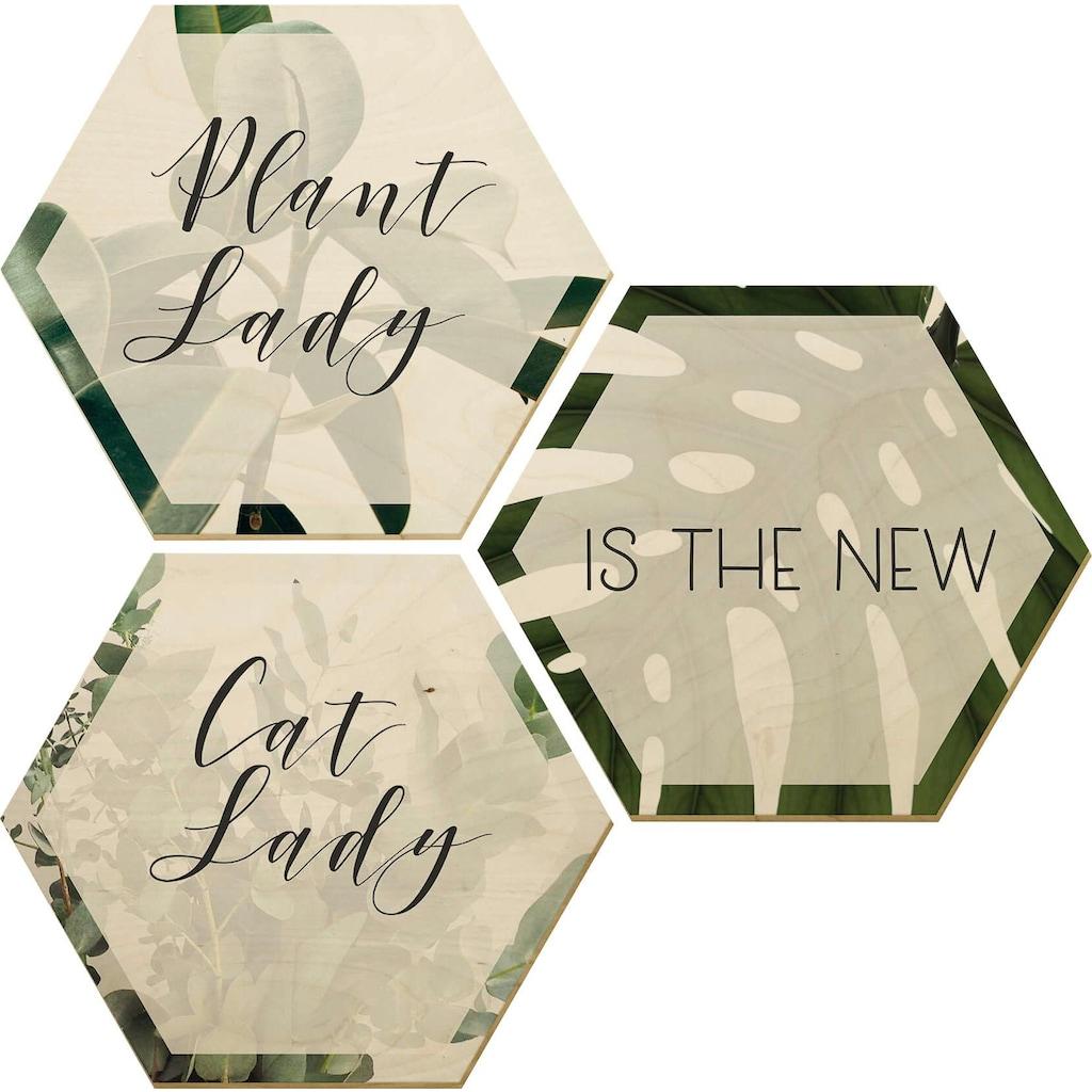 Wall-Art Holzbild »Plantlady is the new Catlady«, (Set)