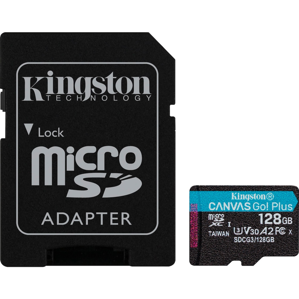Kingston Micro SD-Karte »Canvas Go! Plus microSDXC + Adapter«, (Lesegeschwindigkeit 170 MB/s)